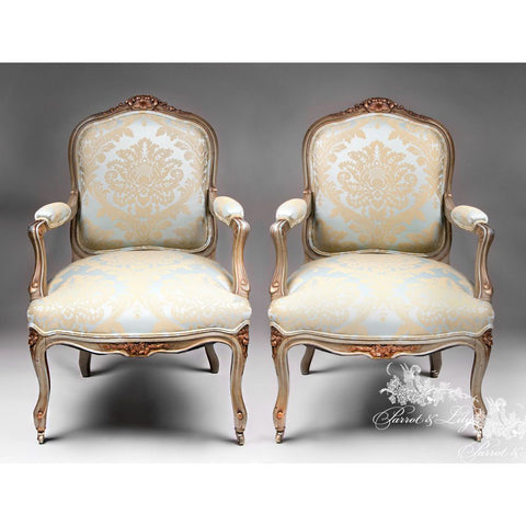 Chair inspired by Louis XV, Fauteuil of lofty comfort set of two
