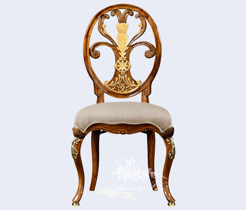 Chair inspired by Thomas Sheraton with fleur-de-lys