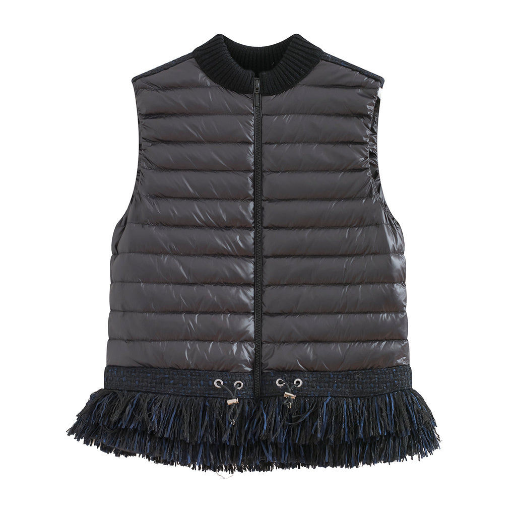 Tweed Fringed Bottom Daily Down Vest