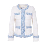 White Tweed Jacket with Fluffy Baby Blue Trim