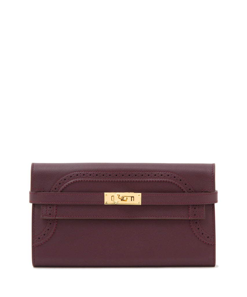 Kelly Wallet Long Prune / Poppy Orange Ghillies Swift GHW