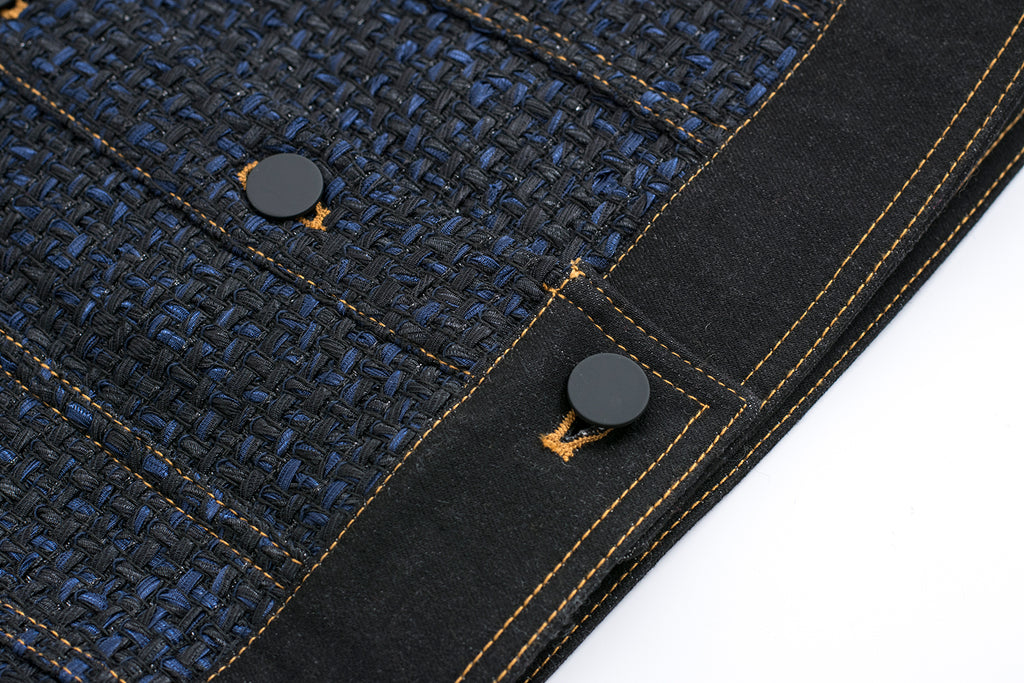 Subtle Tweed Jacket with Denim Collar and Cuffs