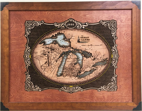 "1835 ""Laser Engraved Wooden Great Lakes Map"""