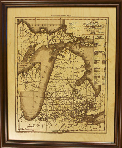 "1836 H.S. Tanner ""A New Map of Michigan with its Canals, Roads & Distances"" Laser Engraved"