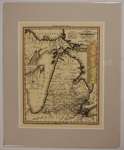 "1836 H.S. Tanner ""A New Map of Michigan with its Canals, Roads & Distances"""