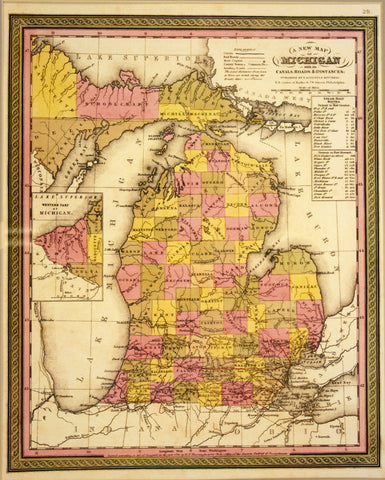 "1846 S. Augustus Mitchell ""A New Map of Michigan with its Canals, Roads & Distances"""