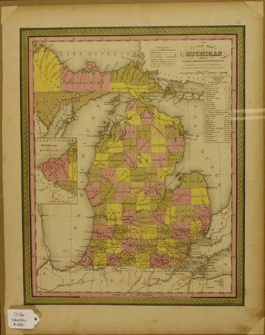 "1846 S. Augustus Mitchell ""A New Map of Michigan with its Canals, Roads and Distances"""