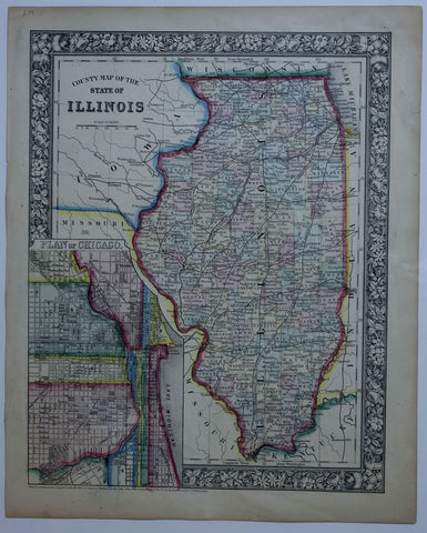 "1860 ""County Map of the State of Illinois"""