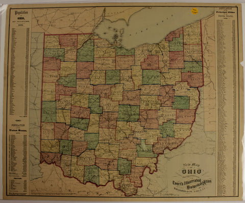 "1866 ""A New Map of Ohio"", Evert's Illustrated Historical Atlas"