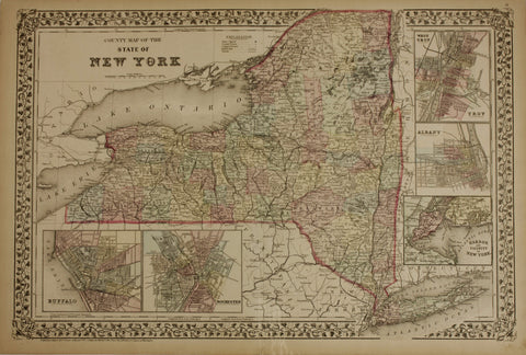 "1872 S. Augustus Mitchell ""County Map of the State of New York"""
