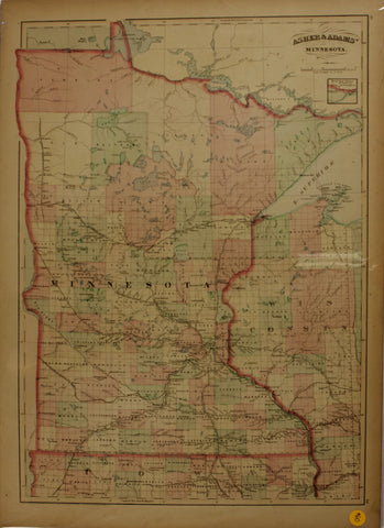 "1874 Asher & Adams map of ""Minnesota"""