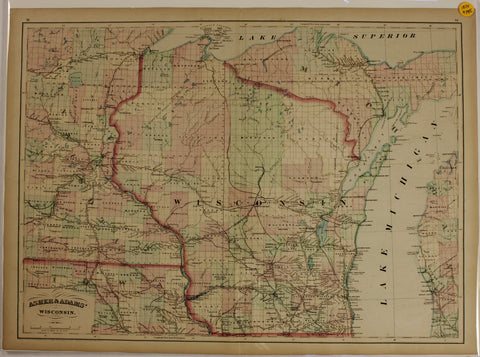 "1874 Asher & Adams map of ""Wisconsin"""