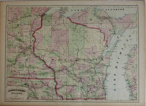 "1874 Asher & Adam's Map of ""Wisconsin"""