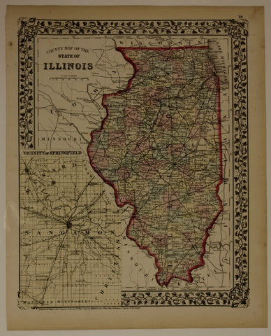 "1874 S. Augustus Mitchell ""County Map of Illinois"""