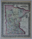 "1874 S. Augustus Mitchell ""County Map of Minnesota"""