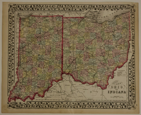 "1874 S. Augustus Mitchell ""County Map of Ohio and Indiana"""