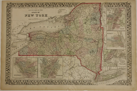 "1874 S. Augustus Mitchell ""County Map of the State of New York"""