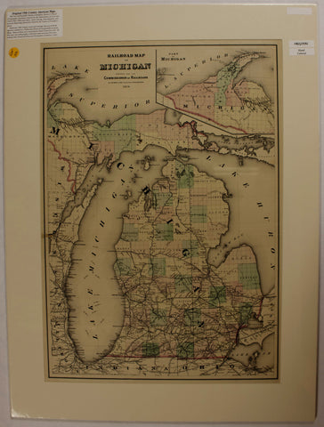 "1876 O.W. Gray & Sons ""Railroad Map of Michigan"""