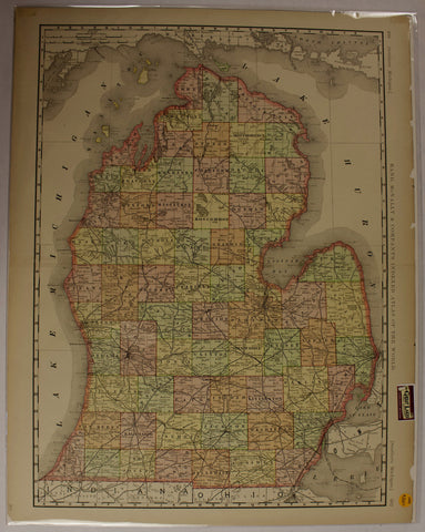 "1889 Rand, McNally & Co. ""Southern Michigan"" Map"