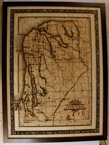 "1897 Laser Engraved ""Outline Map of Charlevoix Antrim Co."""