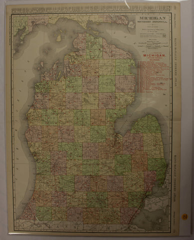 "1907 Rand-McNally Indexed Atlas ""Michigan Southern Peninsula"" Map"