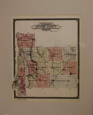 "1910 George A. Ogle ""Outline Map of Antrim County, MI"""