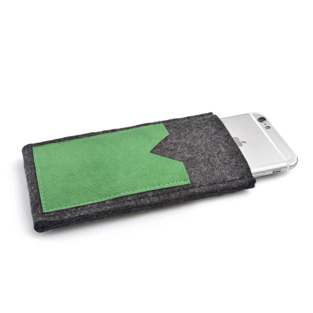 iPhone Wool Felt Cover Charcoal/Green