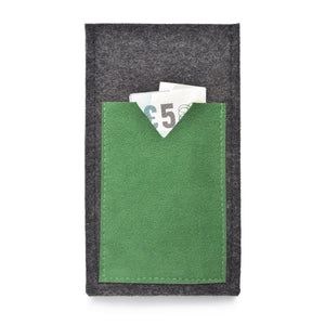 iPhone Wool Felt Cover Charcoal/Green - Wrappers UK