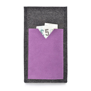 iPhone Wool Felt Cover Charcoal/Lilac - Wrappers UK