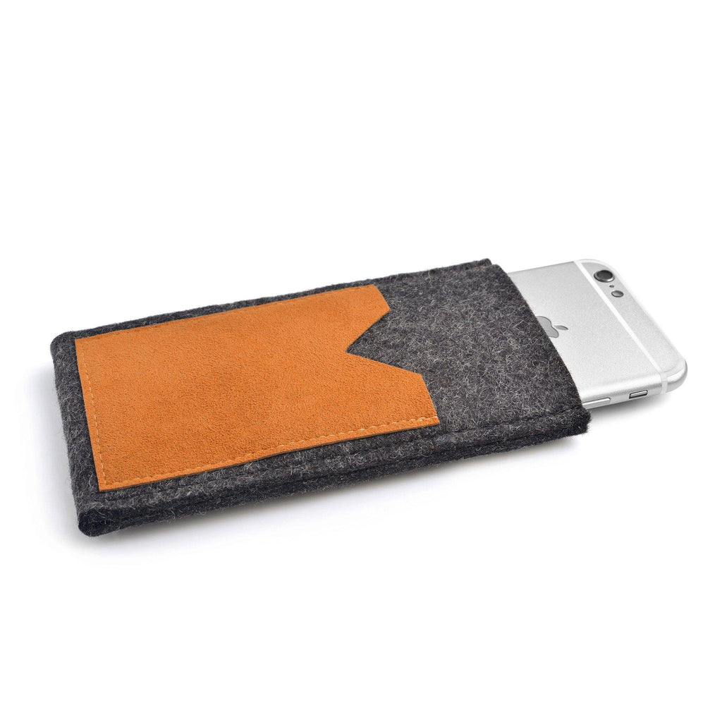 iPhone Wool Felt Cover Charcoal/Orange