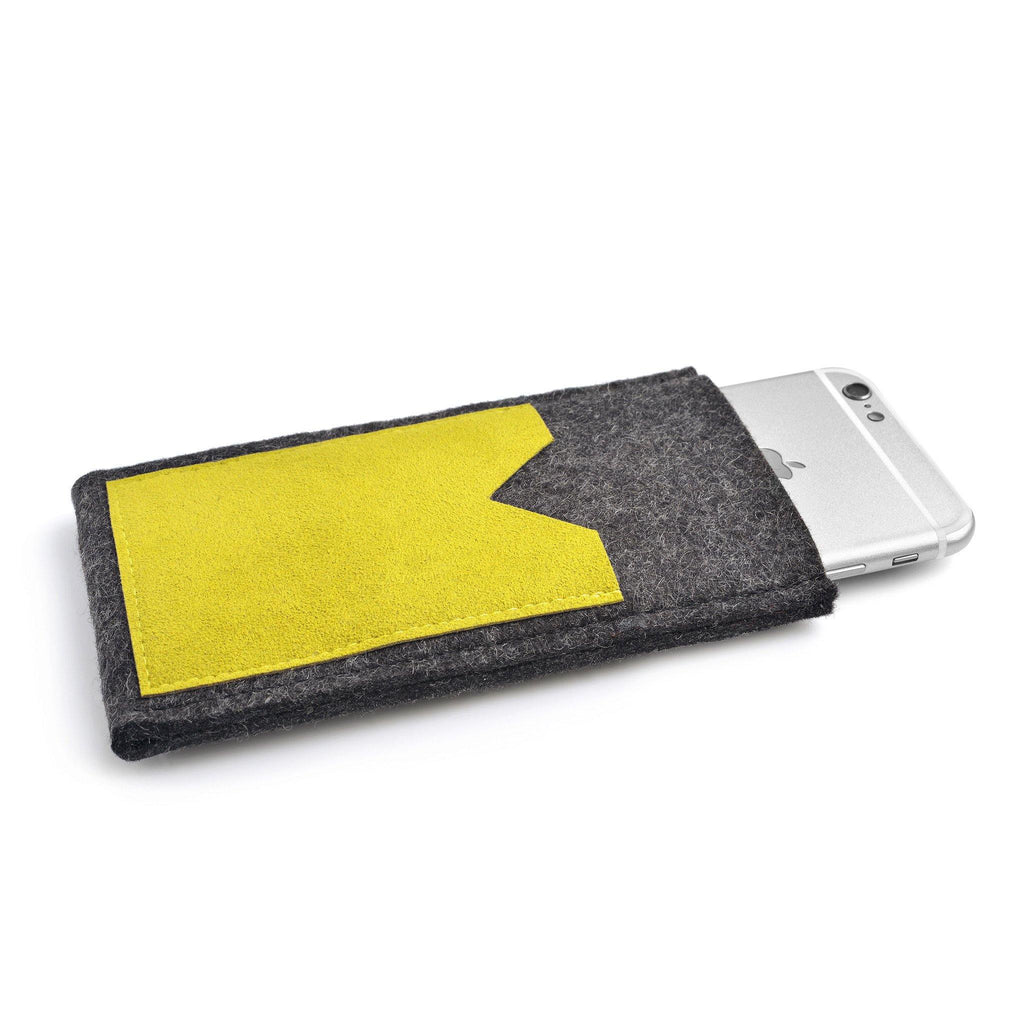 iPhone Wool Felt Cover Charcoal/Yellow