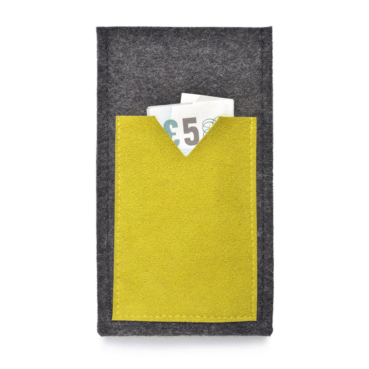 iPhone Wool Felt Cover Charcoal/Yellow - Wrappers UK