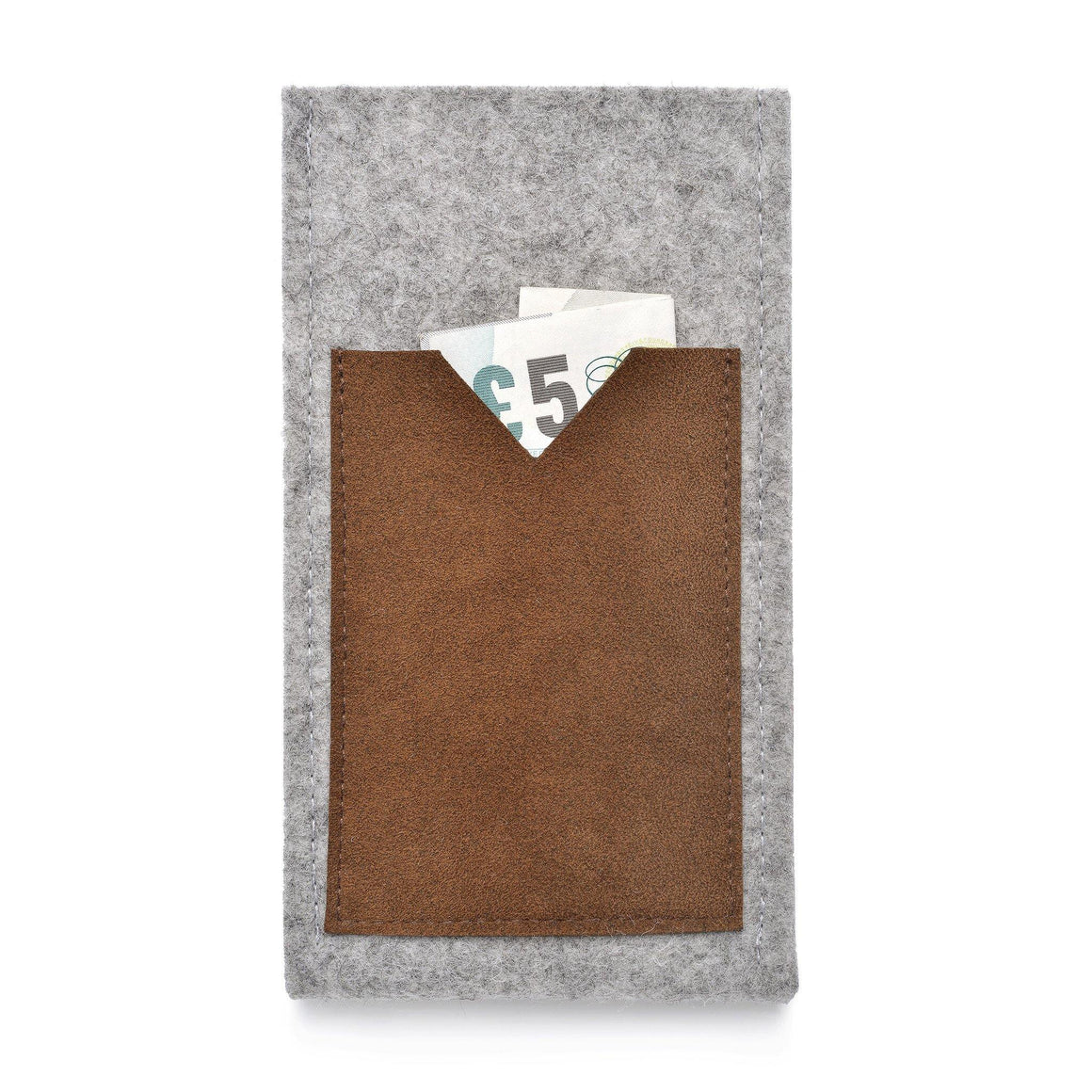 iPhone Wool Felt Cover Grey/Chestnut - Wrappers UK