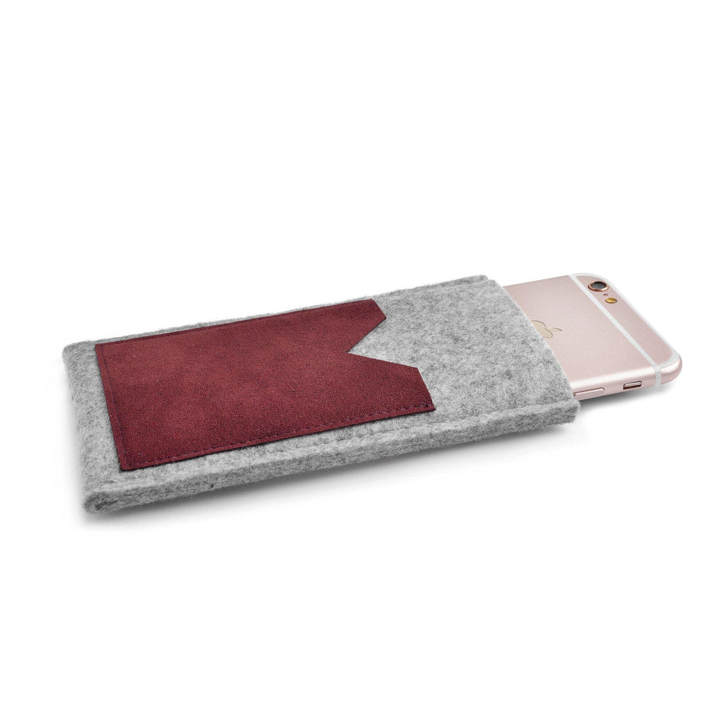 iPhone Wool Felt Cover Grey/Cranberry - Wrappers UK