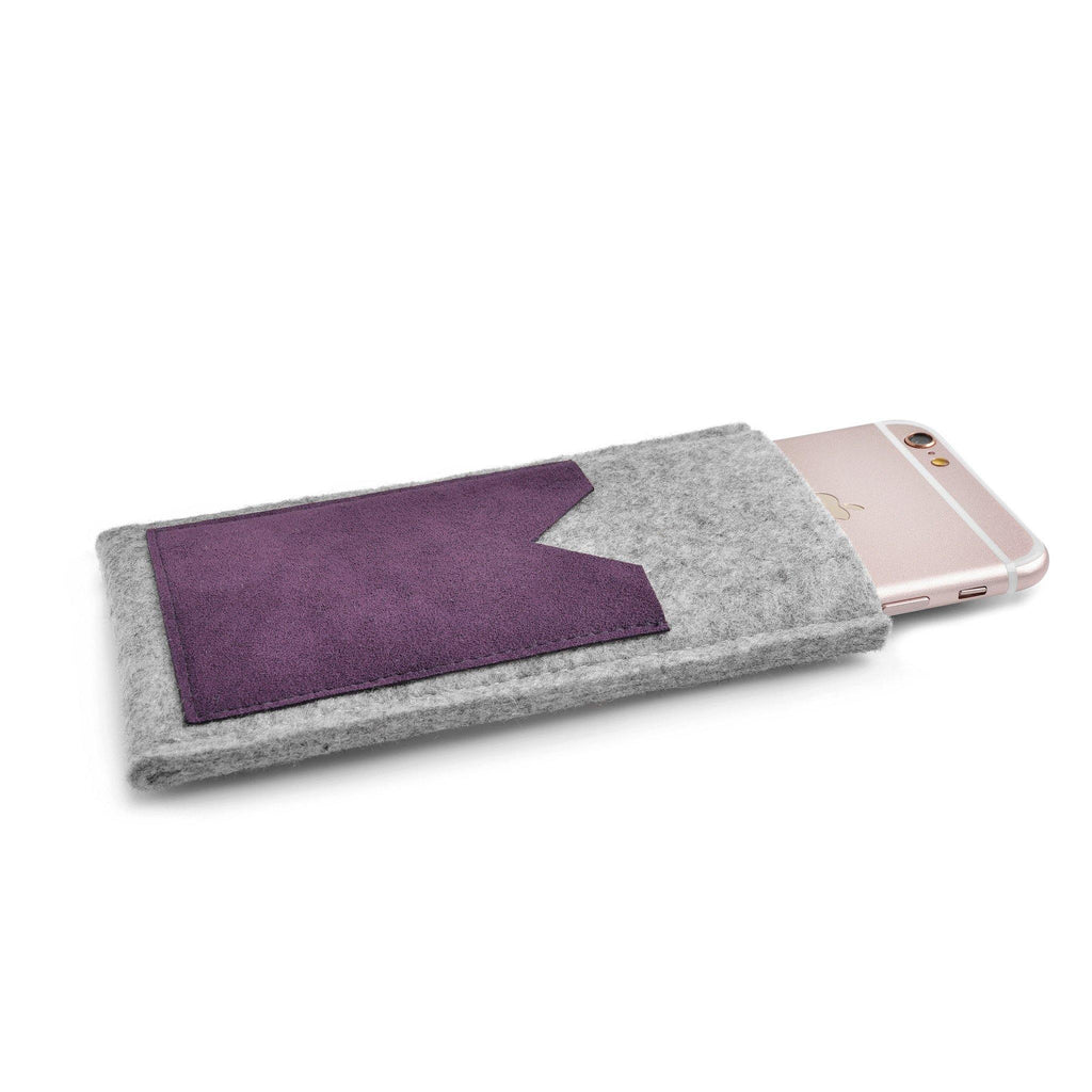 iPhone Wool Felt Cover Grey/Plum