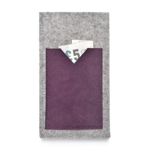 iPhone Wool Felt Cover Grey/Plum - Wrappers UK