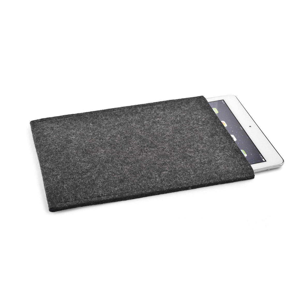 iPad Wool Felt Cover Charcoal Portrait - Wrappers UK