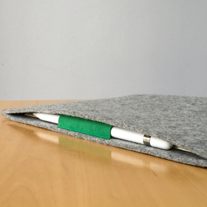 iPad Pro 10.5 with Pencil Holder Wool Felt Cover Grey Landscape - Wrappers UK