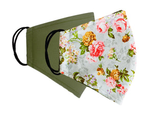 Face Mask Patterns Roses Reversible Washable Ladies 2 sizes - Wrappers UK