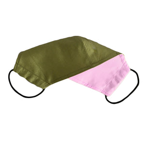 Face Mask Plain Green Reversible Washable adult 3 sizes - Wrappers UK