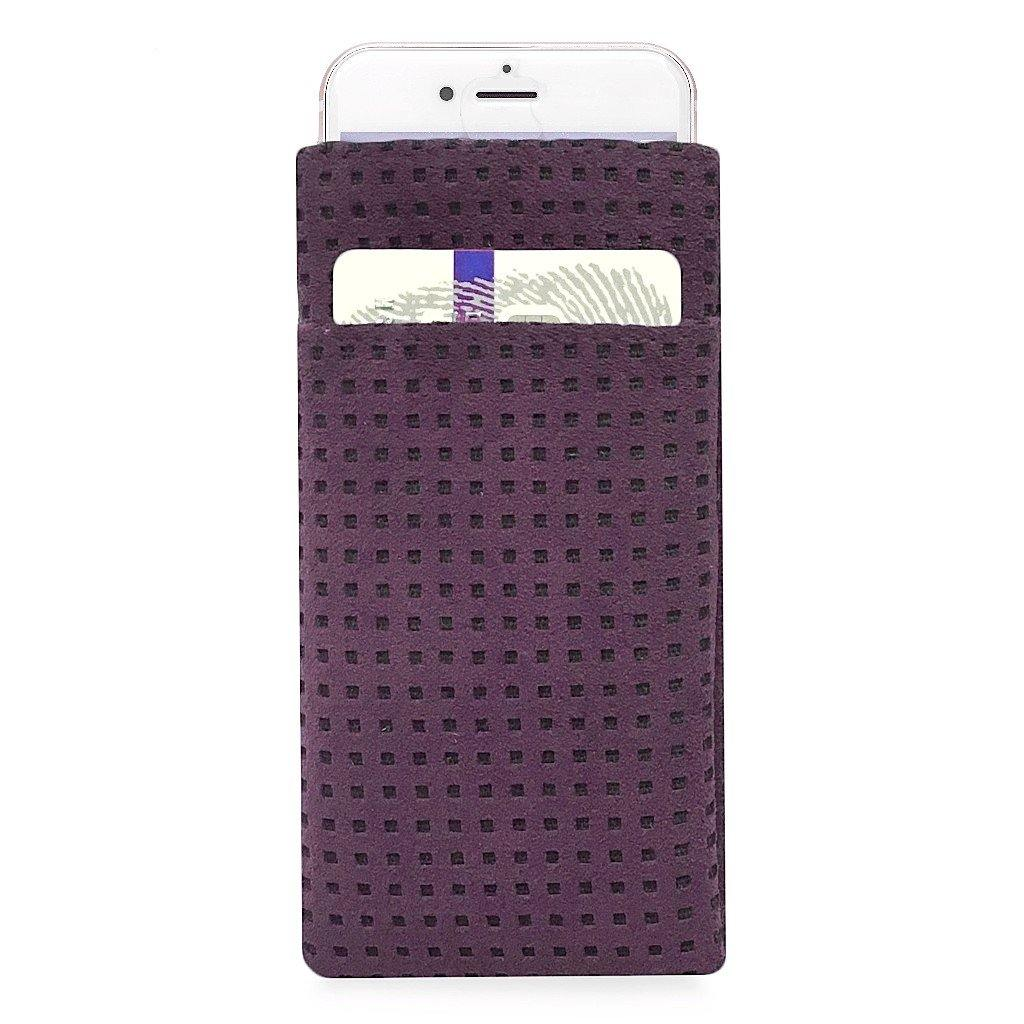 iPhone Alcantara Slip-Case with Pocket Aubergine - Wrappers UK