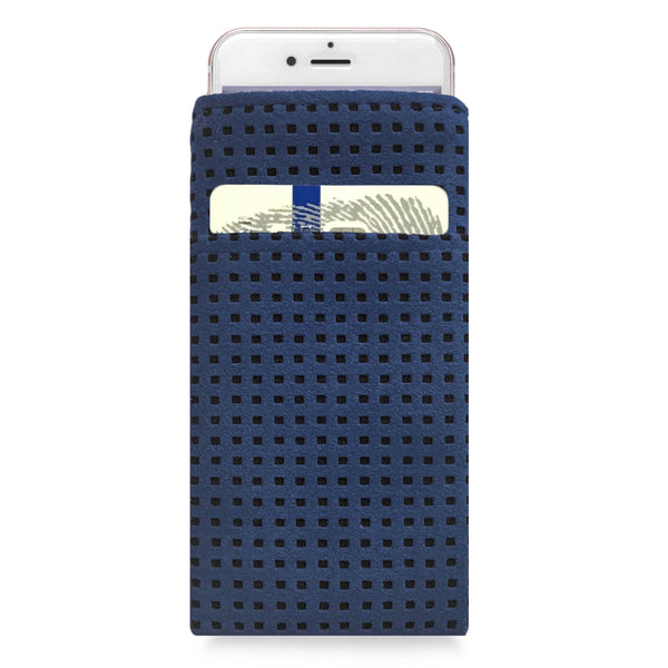 iPhone Alcantara Slip-Case with Pocket Blue