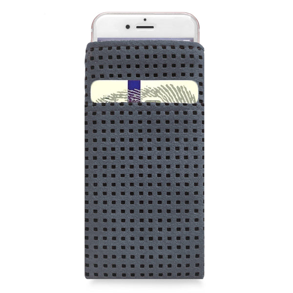 iPhone Alcantara Slip-Case with Pocket Grey