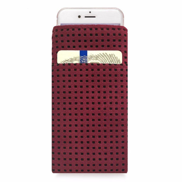 iPhone Alcantara Slip-Case with Pocket Maroon