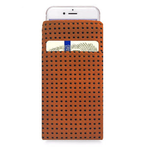 iPhone Alcantara Slip-Case with Pocket Orange - Wrappers UK