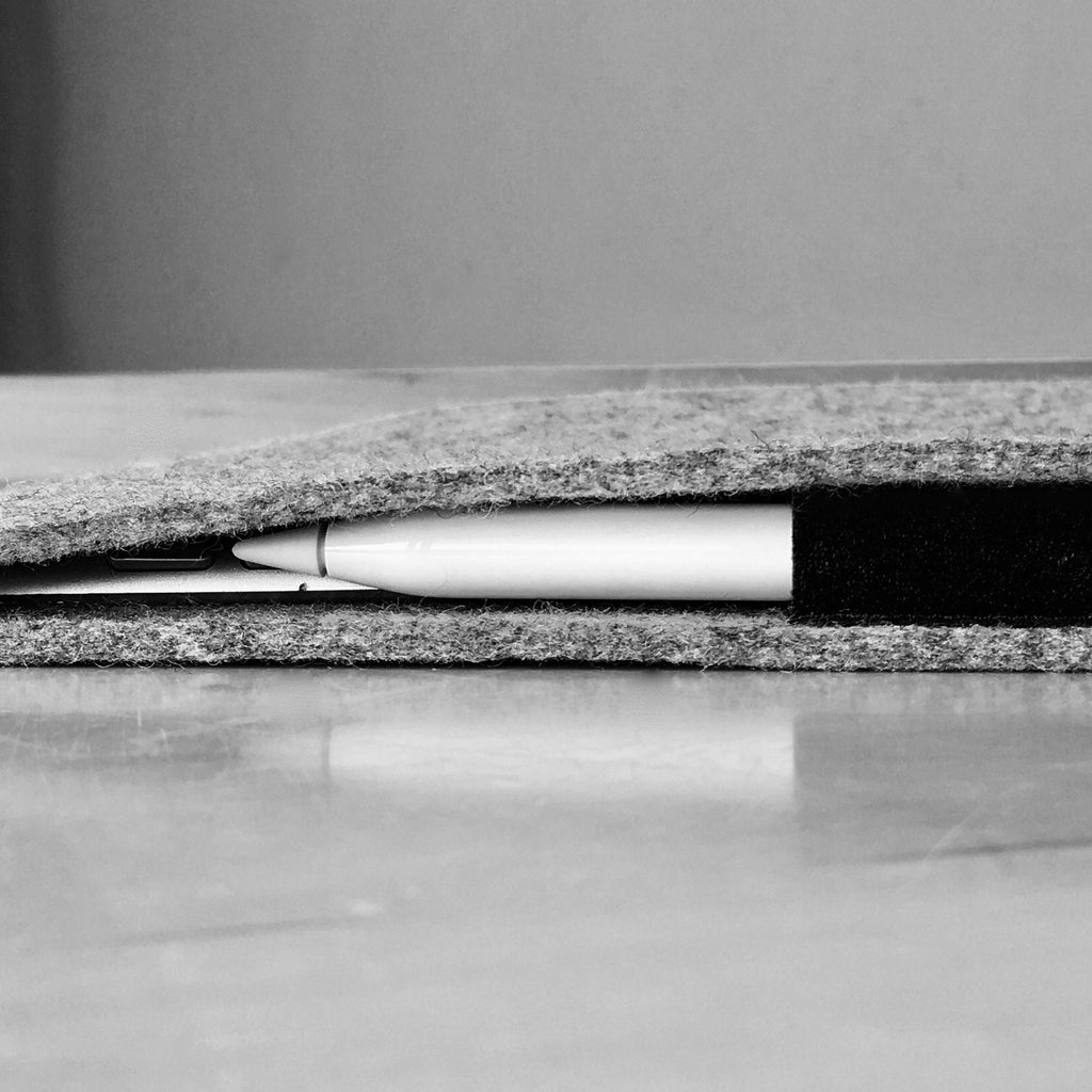 iPad Pro 12.9 with Pencil Holder Wool Felt Cover Grey Landscape