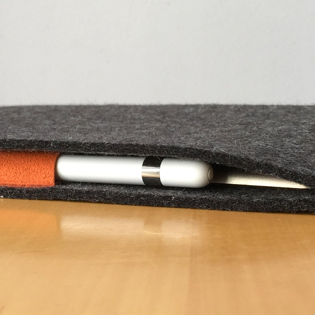 iPad Pro 12.9 with Pencil Holder Wool Felt Cover Charcoal Landscape - Wrappers UK