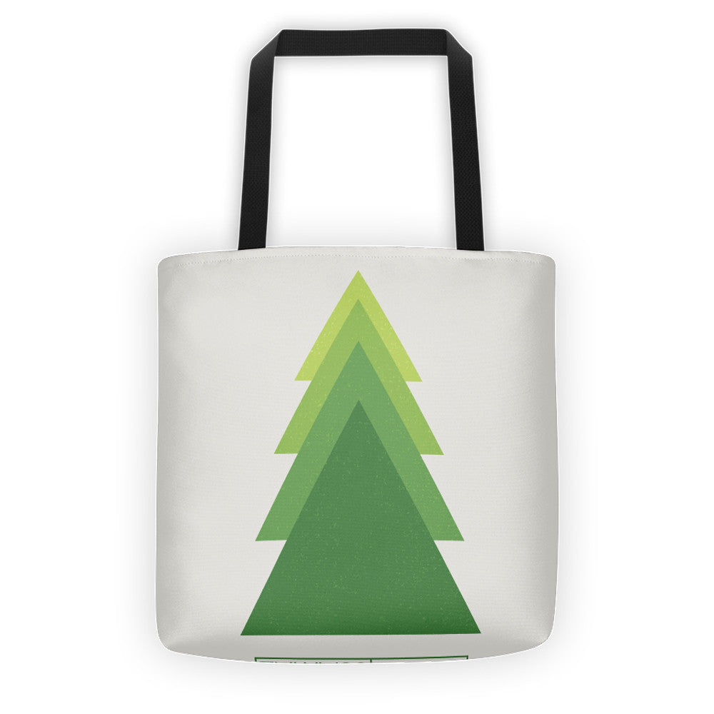 Geometric Green Tree, ALL-OVER PRINT TOTE BAG - YANMOS