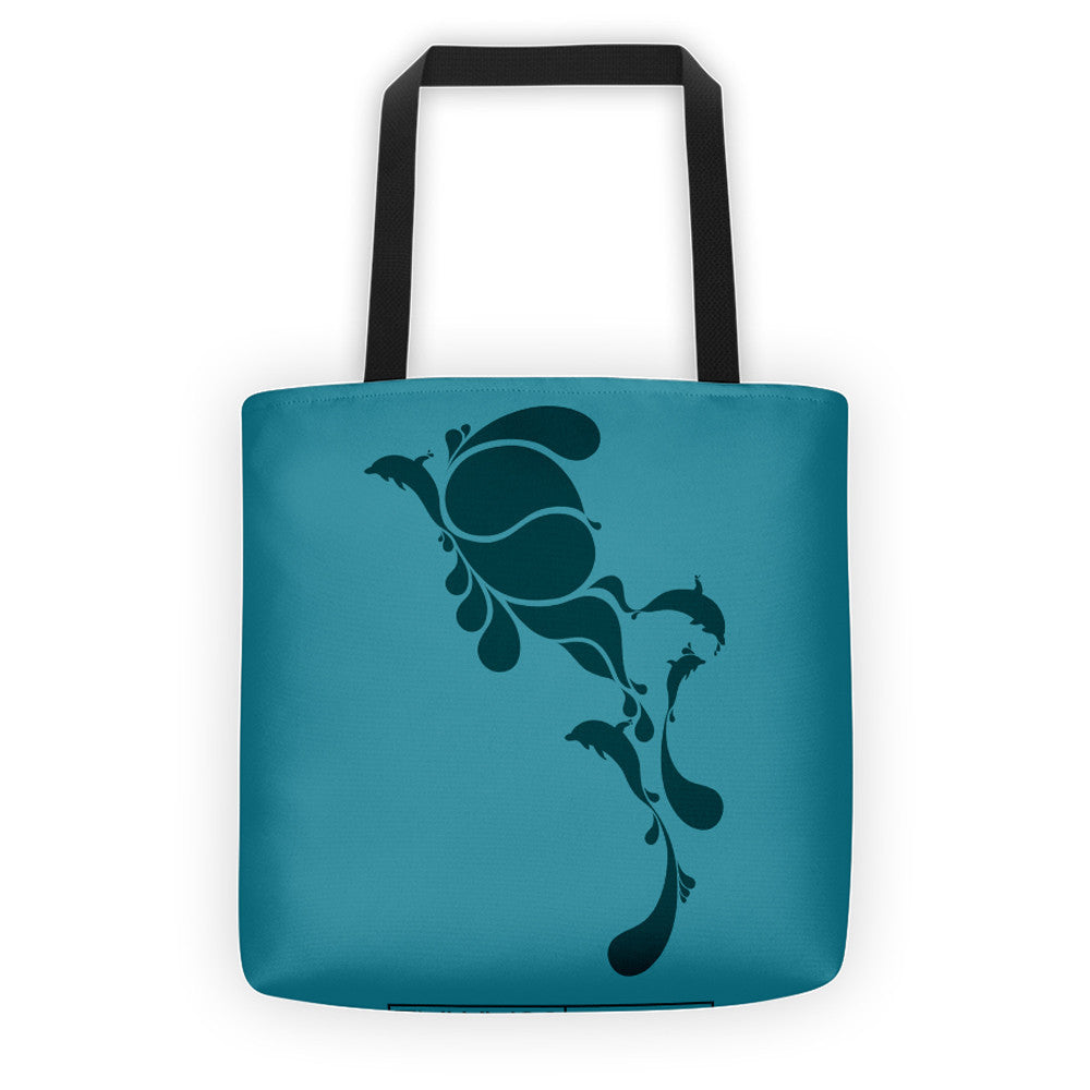 BLUE DROPS, ALL-OVER PRINT TOTE BAG - YANMOS