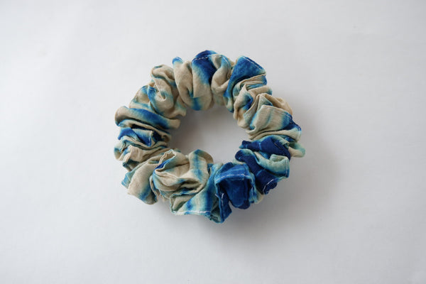 Stephany Tye-Dye Turquoise Muga Silk Scrunchy - Republic of Mode